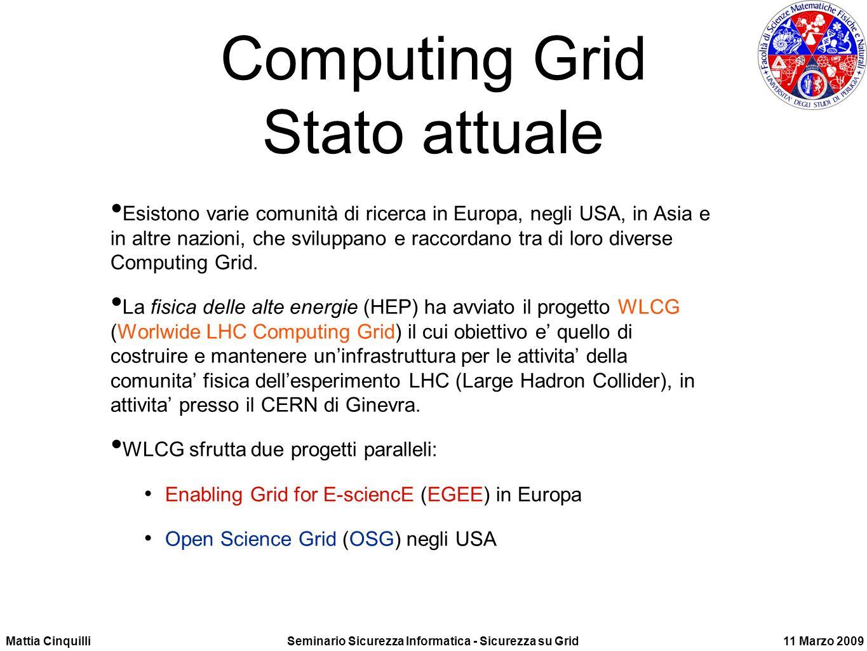 Mattia CinquilliSeminario Sicurezza Informatica - Sicurezza su Grid11 Marzo 2009 Computing Grid Stato attuale Esistono varie comunità di ricerca in Europa, negli USA, in Asia e in altre nazioni, che sviluppano e raccordano tra di loro diverse Computing Grid.