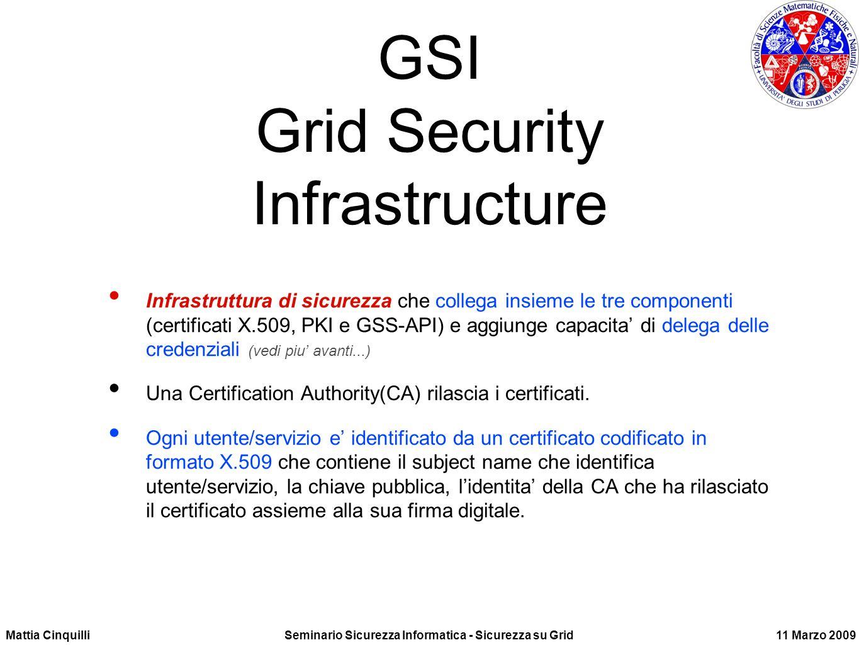 Mattia CinquilliSeminario Sicurezza Informatica - Sicurezza su Grid11 Marzo 2009 GSI Grid Security Infrastructure Infrastruttura di sicurezza che collega insieme le tre componenti (certificati X.509, PKI e GSS-API) e aggiunge capacita di delega delle credenziali (vedi piu avanti...) Una Certification Authority(CA) rilascia i certificati.