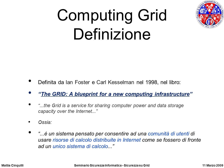 Computing Grid Cosa e Virtualizzazione di risorse locali Accesso trasparente a risorse distribuite globalmente dati ( di esperimenti, finanziari,...