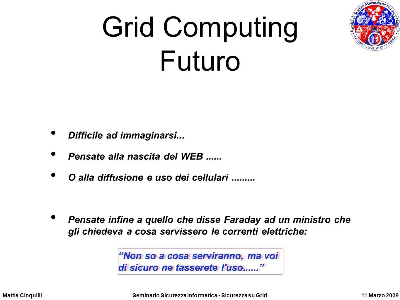 Mattia CinquilliSeminario Sicurezza Informatica - Sicurezza su Grid11 Marzo 2009 Grid Computing Futuro Difficile ad immaginarsi...