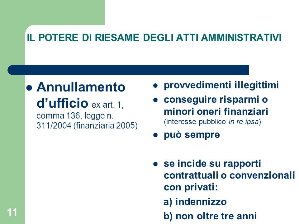 11 IL POTERE DI RIESAME DEGLI ATTI AMMINISTRATIVI Annullamento dufficio ex art. 1, comma 136, legge n. 311/2004 (finanziaria 2005) provvedimenti illeg