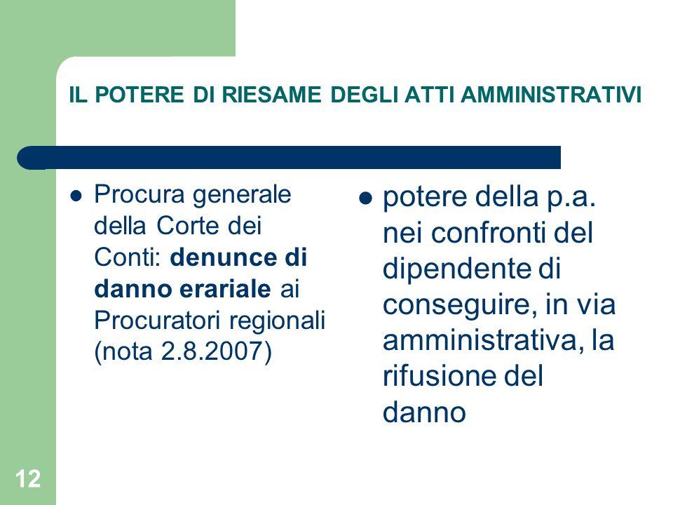 12 IL POTERE DI RIESAME DEGLI ATTI AMMINISTRATIVI Procura generale della Corte dei Conti: denunce di danno erariale ai Procuratori regionali (nota 2.8