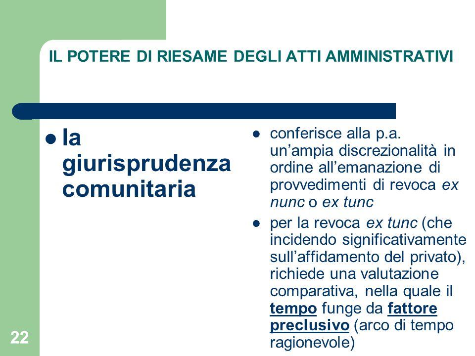 22 IL POTERE DI RIESAME DEGLI ATTI AMMINISTRATIVI la giurisprudenza comunitaria conferisce alla p.a.