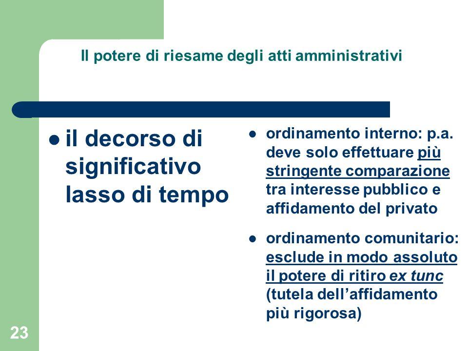 23 Il potere di riesame degli atti amministrativi il decorso di significativo lasso di tempo ordinamento interno: p.a. deve solo effettuare più string