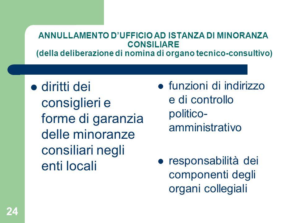 24 ANNULLAMENTO DUFFICIO AD ISTANZA DI MINORANZA CONSILIARE (della deliberazione di nomina di organo tecnico-consultivo) diritti dei consiglieri e for
