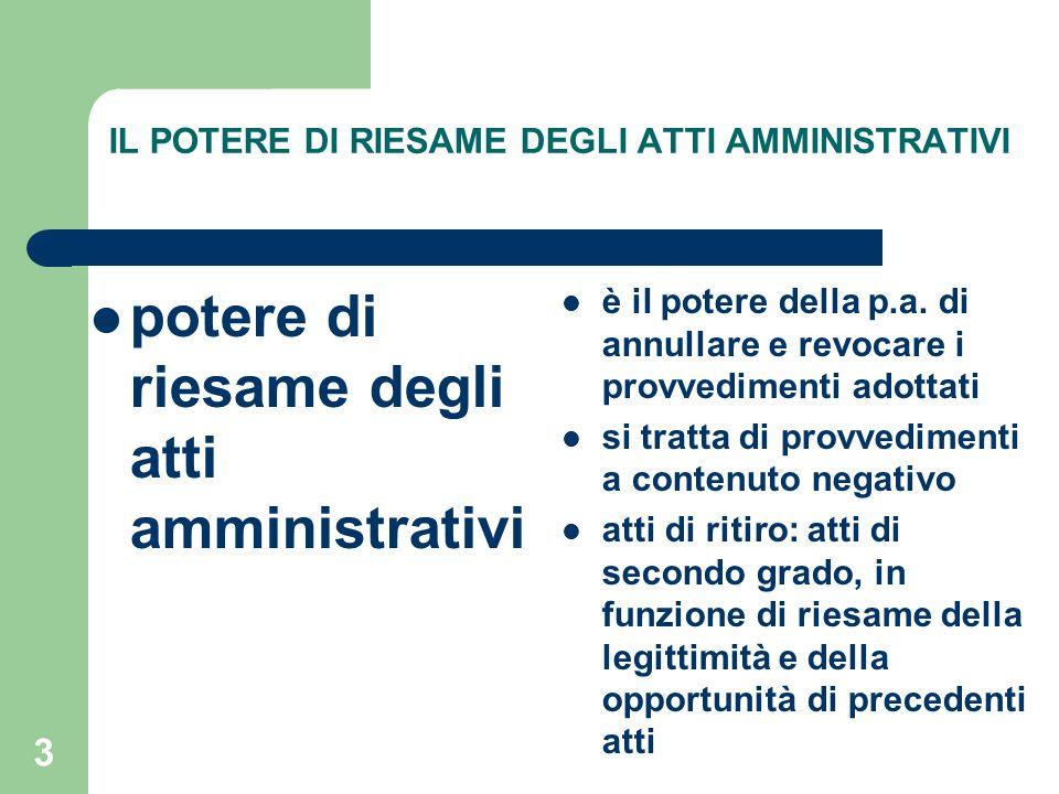 3 IL POTERE DI RIESAME DEGLI ATTI AMMINISTRATIVI potere di riesame degli atti amministrativi è il potere della p.a.