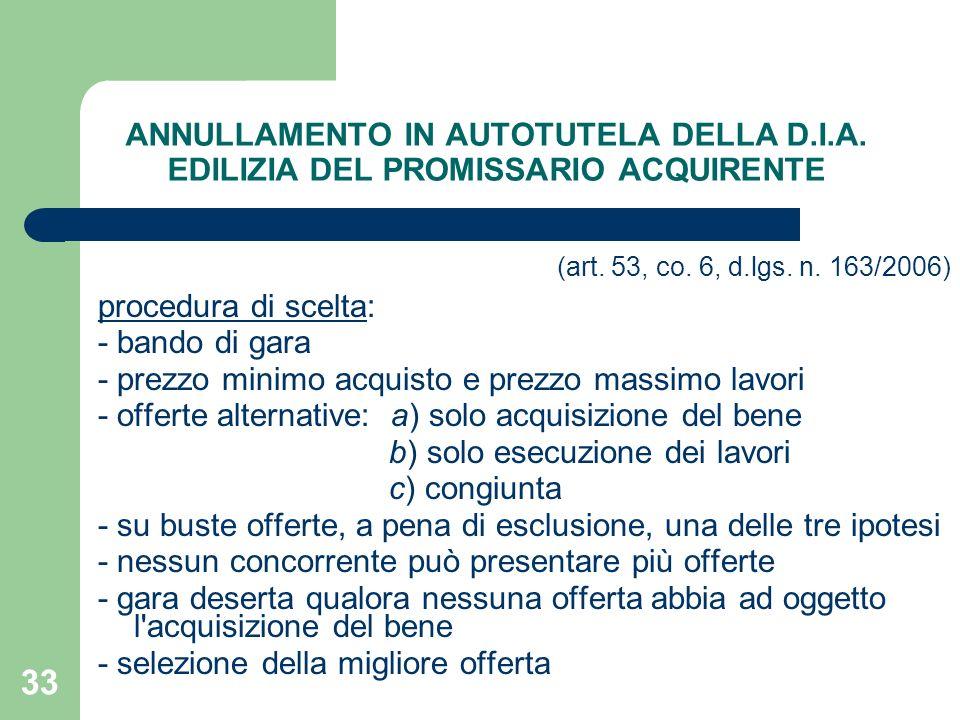33 ANNULLAMENTO IN AUTOTUTELA DELLA D.I.A. EDILIZIA DEL PROMISSARIO ACQUIRENTE (art. 53, co. 6, d.lgs. n. 163/2006) procedura di scelta: - bando di ga