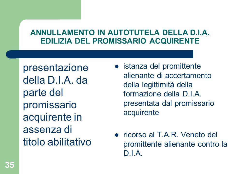 35 ANNULLAMENTO IN AUTOTUTELA DELLA D.I.A. EDILIZIA DEL PROMISSARIO ACQUIRENTE presentazione della D.I.A. da parte del promissario acquirente in assen