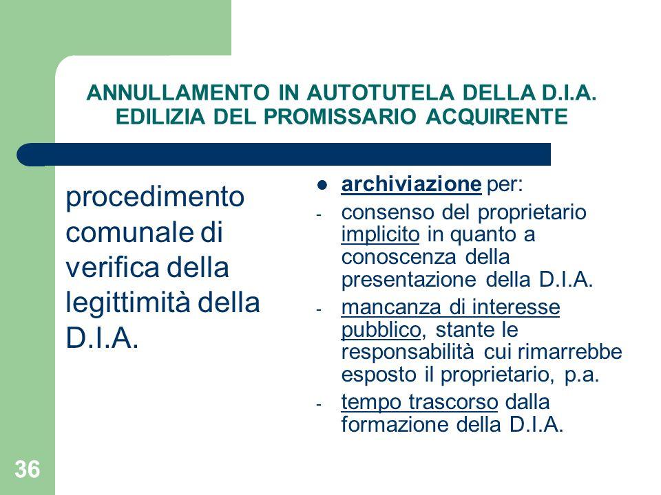36 ANNULLAMENTO IN AUTOTUTELA DELLA D.I.A. EDILIZIA DEL PROMISSARIO ACQUIRENTE procedimento comunale di verifica della legittimità della D.I.A. archiv
