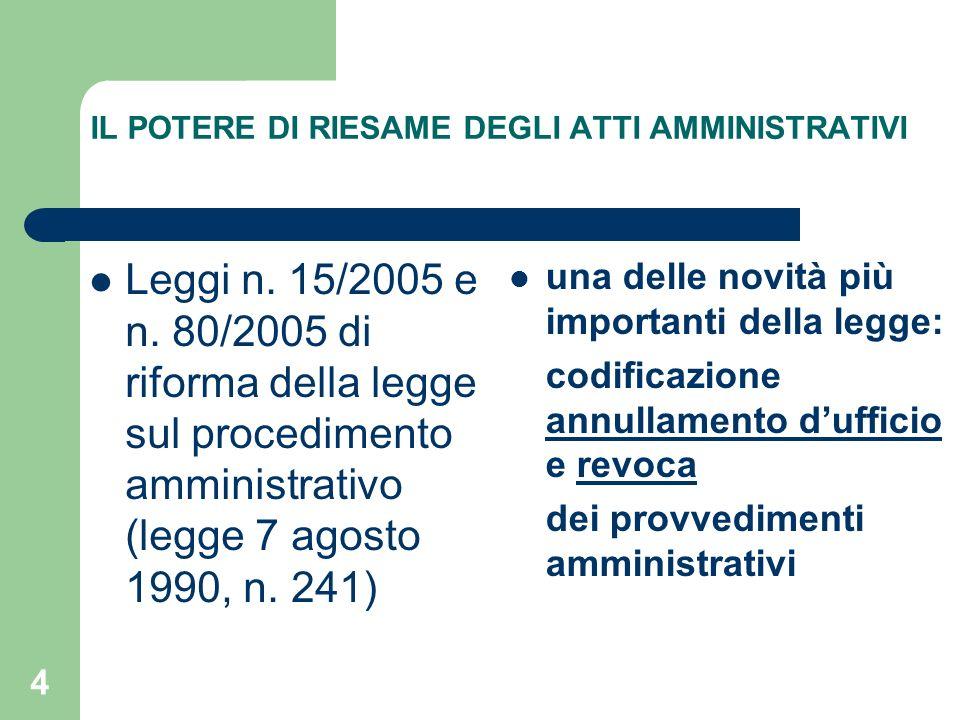 4 IL POTERE DI RIESAME DEGLI ATTI AMMINISTRATIVI Leggi n. 15/2005 e n. 80/2005 di riforma della legge sul procedimento amministrativo (legge 7 agosto