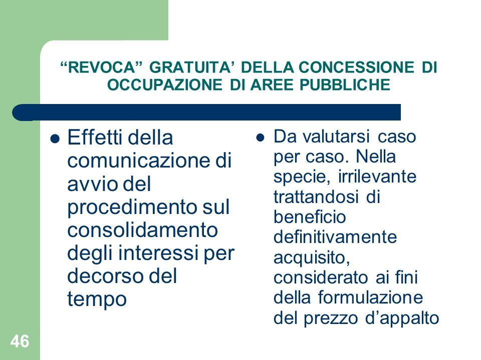 46 REVOCA GRATUITA DELLA CONCESSIONE DI OCCUPAZIONE DI AREE PUBBLICHE Effetti della comunicazione di avvio del procedimento sul consolidamento degli i