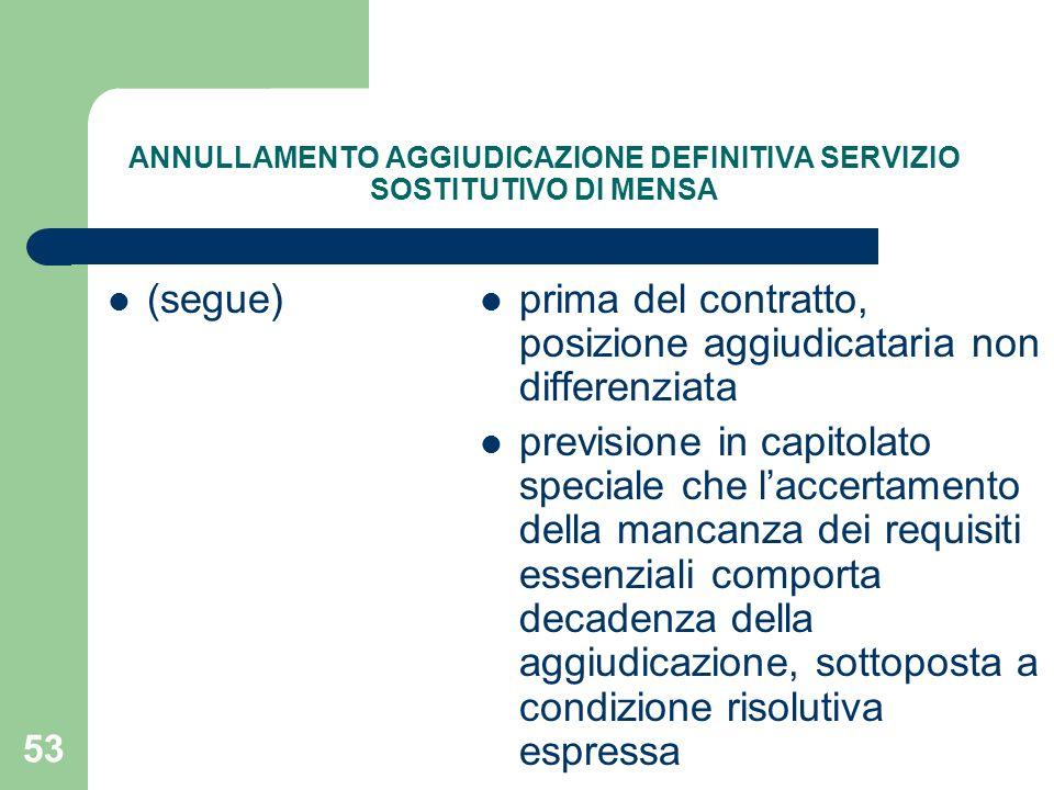 53 ANNULLAMENTO AGGIUDICAZIONE DEFINITIVA SERVIZIO SOSTITUTIVO DI MENSA (segue) prima del contratto, posizione aggiudicataria non differenziata previs