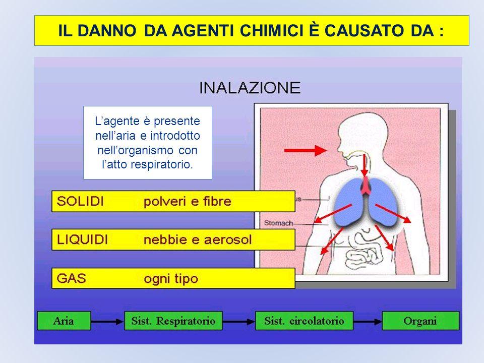 IL DANNO DA AGENTI CHIMICI È CAUSATO DA : Lagente è presente nellaria e introdotto nellorganismo con latto respiratorio.