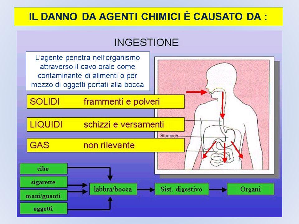 IL DANNO DA AGENTI CHIMICI È CAUSATO DA : Lagente penetra nellorganismo attraverso il cavo orale come contaminante di alimenti o per mezzo di oggetti