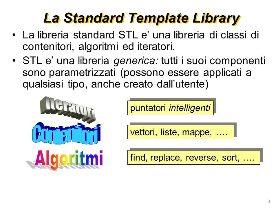 1 La Standard Template Library vettori, liste, mappe, ….