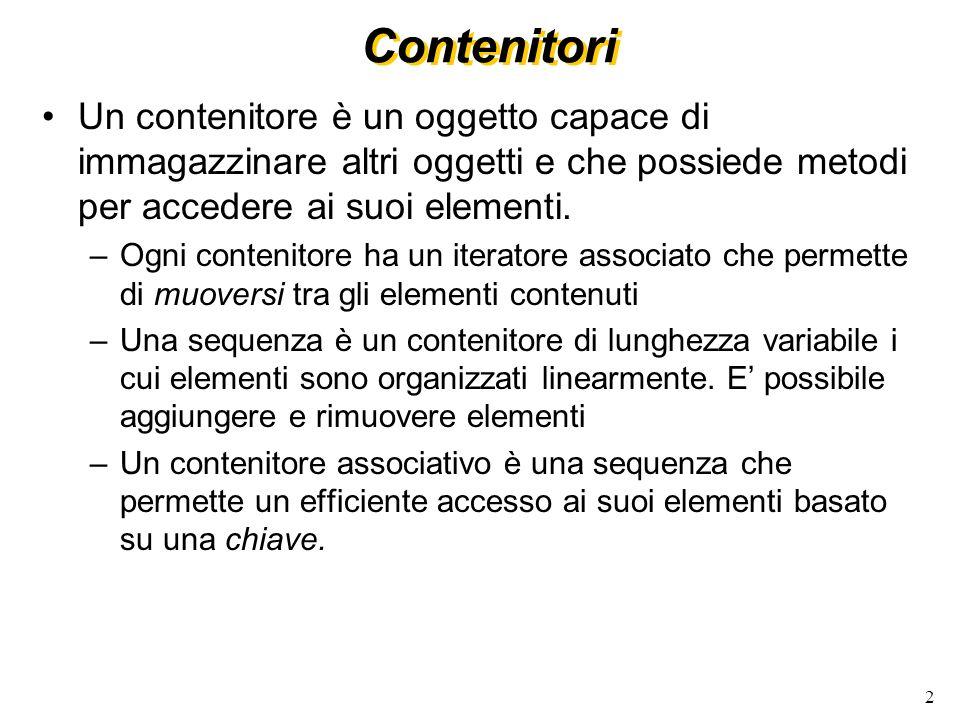 2 Un contenitore è un oggetto capace di immagazzinare altri oggetti e che possiede metodi per accedere ai suoi elementi.