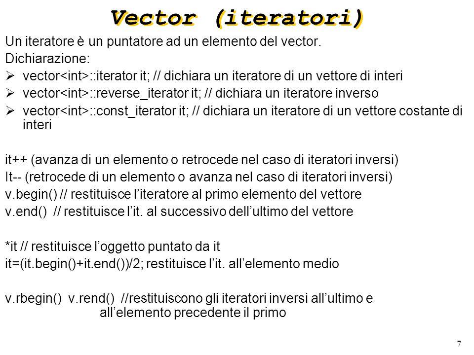 7 Vector (iteratori) Un iteratore è un puntatore ad un elemento del vector.