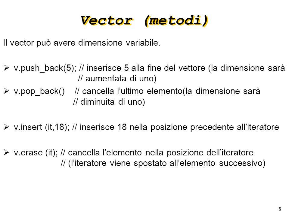 8 Vector (metodi) Il vector può avere dimensione variabile.
