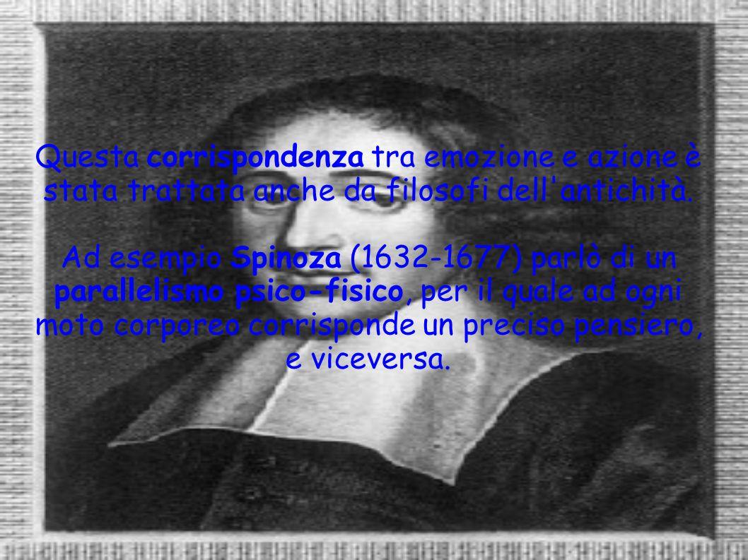 Questa corrispondenza tra emozione e azione è stata trattata anche da filosofi dell'antichità. Ad esempio Spinoza (1632-1677) parlò di un parallelismo