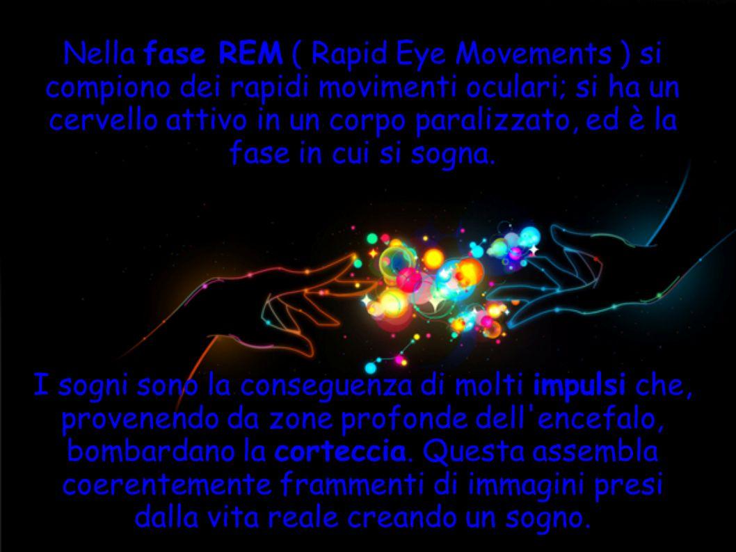 Nella fase REM ( Rapid Eye Movements ) si compiono dei rapidi movimenti oculari; si ha un cervello attivo in un corpo paralizzato, ed è la fase in cui