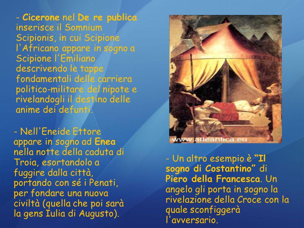 - Un altro esempio è Il sogno di Costantino di Piero della Francesca. Un angelo gli porta in sogno la rivelazione della Croce con la quale sconfiggerà