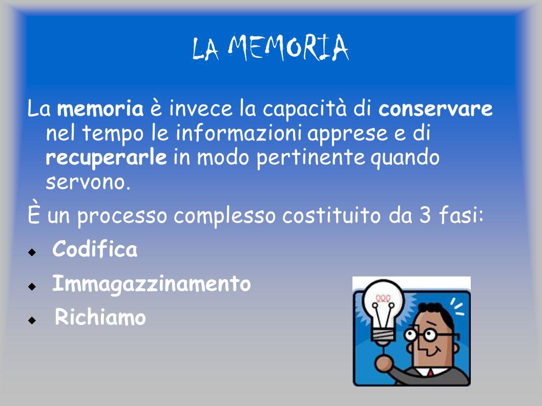 LA MEMORIA La memoria è invece la capacità di conservare nel tempo le informazioni apprese e di recuperarle in modo pertinente quando servono. È un pr