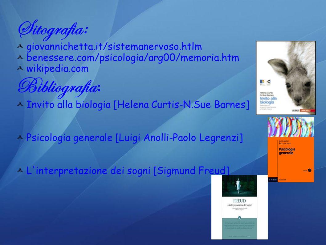Sitografia : giovannichetta.it/sistemanervoso.htlm benessere.com/psicologia/arg00/memoria.htm wikipedia.com Bibliografia : Invito alla biologia [Helen