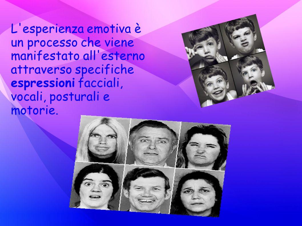 L'esperienza emotiva è un processo che viene manifestato all'esterno attraverso specifiche espressioni facciali, vocali, posturali e motorie.