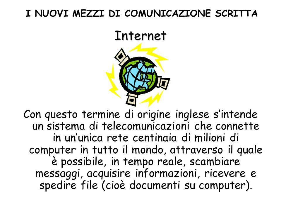 Internet Con questo termine di origine inglese sintende un sistema di telecomunicazioni che connette in ununica rete centinaia di milioni di computer