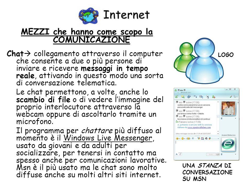 Internet MEZZI che hanno come scopo la COMUNICAZIONE Chat Chat collegamento attraverso il computer che consente a due o più persone di inviare e ricev