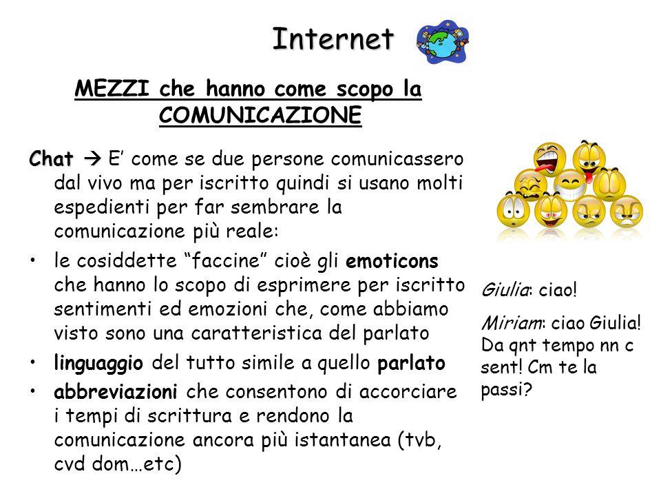 Internet MEZZI che hanno come scopo la COMUNICAZIONE Chat Chat E come se due persone comunicassero dal vivo ma per iscritto quindi si usano molti espe