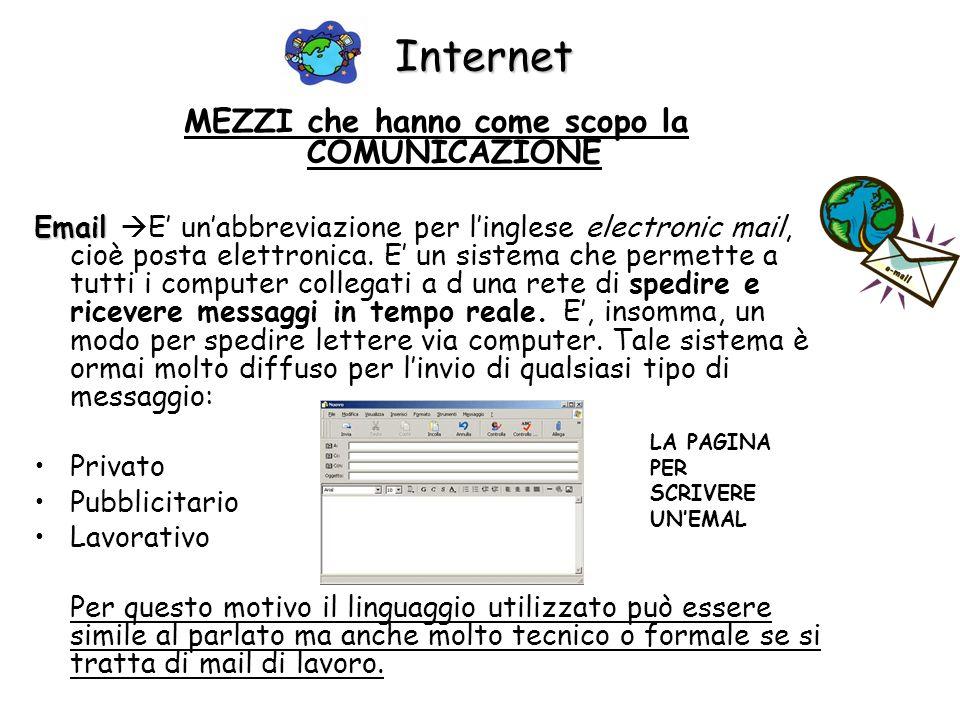 Internet MEZZI che hanno come scopo la COMUNICAZIONE Email Email E unabbreviazione per linglese electronic mail, cioè posta elettronica. E un sistema