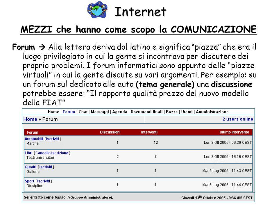 Internet MEZZI che hanno come scopo la COMUNICAZIONE Forum tema generalediscussione Forum Alla lettera deriva dal latino e significa piazza che era il