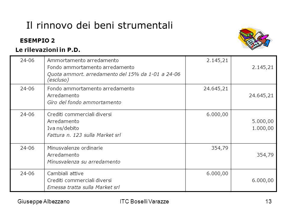 Giuseppe AlbezzanoITC Boselli Varazze13 ESEMPIO 2 Le rilevazioni in P.D. 24-06Ammortamento arredamento Fondo ammortamento arredamento Quota ammort. ar