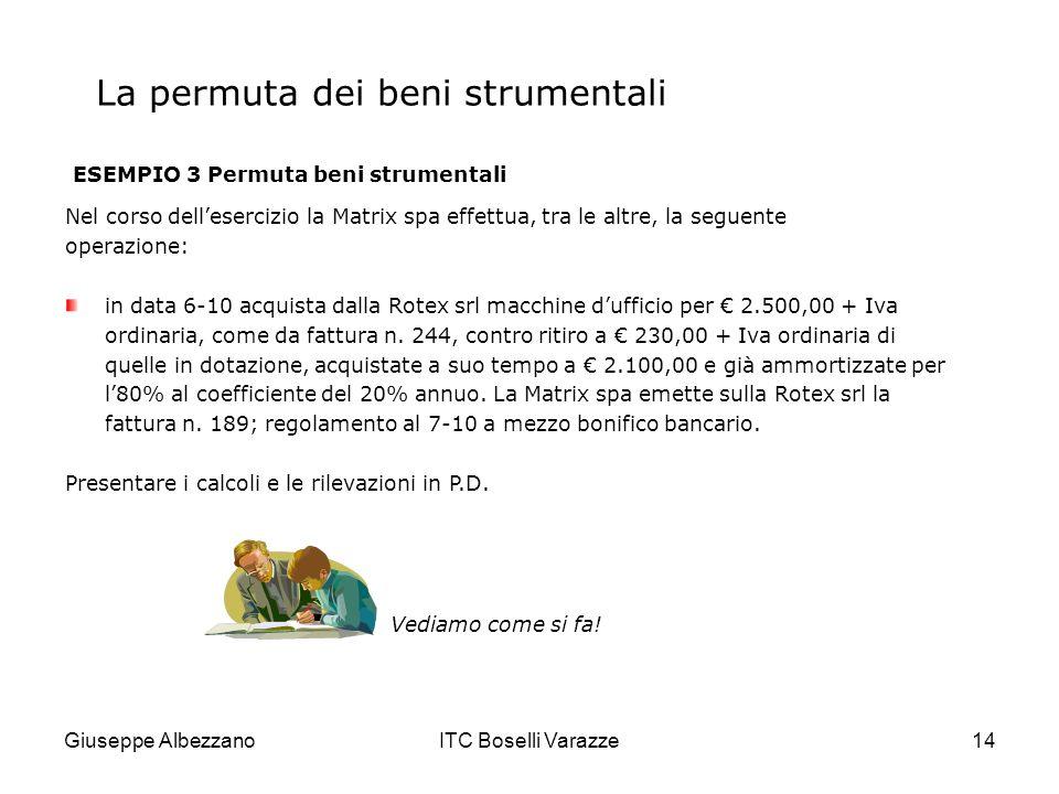 Giuseppe AlbezzanoITC Boselli Varazze14 La permuta dei beni strumentali ESEMPIO 3 Permuta beni strumentali Nel corso dellesercizio la Matrix spa effet