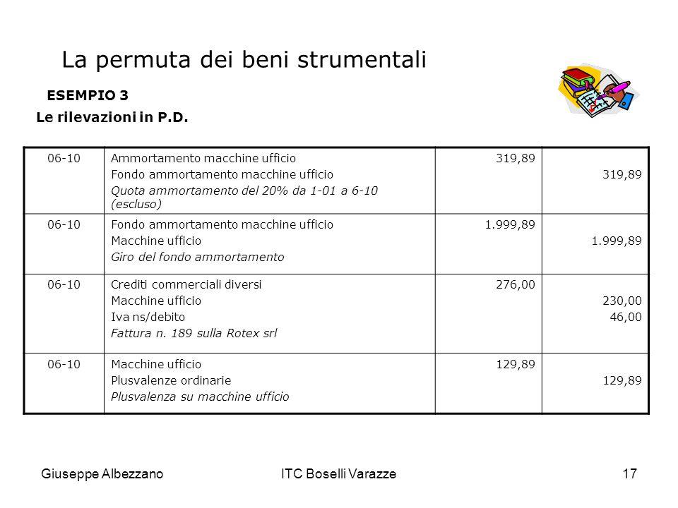 Giuseppe AlbezzanoITC Boselli Varazze17 ESEMPIO 3 Le rilevazioni in P.D. 06-10Ammortamento macchine ufficio Fondo ammortamento macchine ufficio Quota