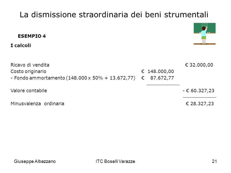 Giuseppe AlbezzanoITC Boselli Varazze21 ESEMPIO 4 I calcoli Ricavo di vendita 32.000,00 Costo originario 148.000,00 - Fondo ammortamento (148.000 x 50