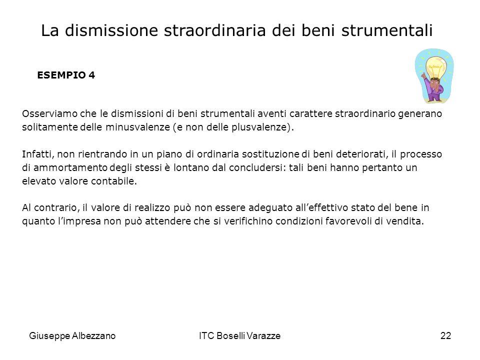 Giuseppe AlbezzanoITC Boselli Varazze22 ESEMPIO 4 Osserviamo che le dismissioni di beni strumentali aventi carattere straordinario generano solitament