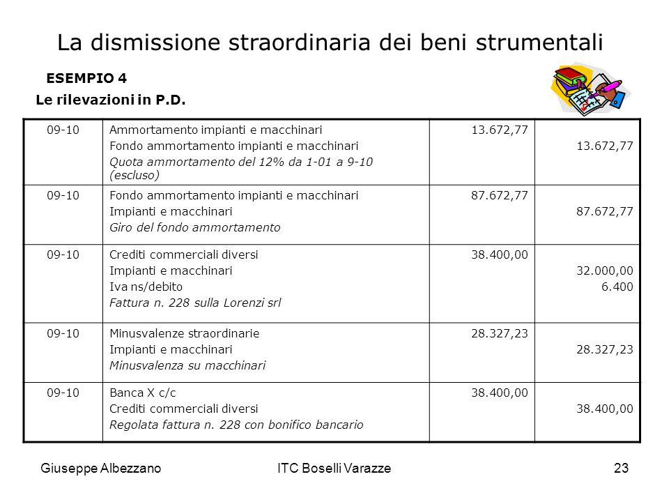 Giuseppe AlbezzanoITC Boselli Varazze23 ESEMPIO 4 Le rilevazioni in P.D. 09-10Ammortamento impianti e macchinari Fondo ammortamento impianti e macchin