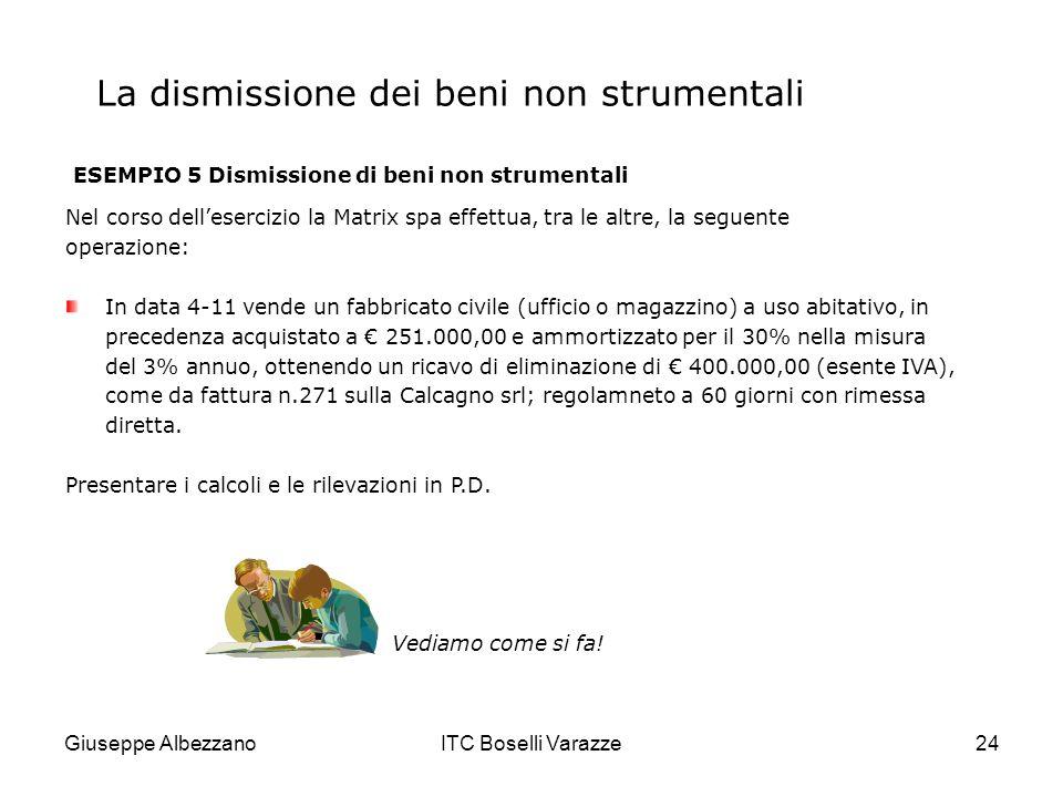 Giuseppe AlbezzanoITC Boselli Varazze24 La dismissione dei beni non strumentali ESEMPIO 5 Dismissione di beni non strumentali Nel corso dellesercizio