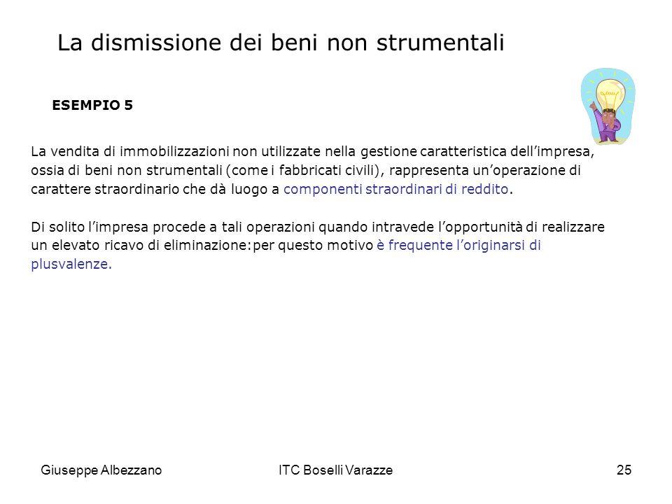 Giuseppe AlbezzanoITC Boselli Varazze25 ESEMPIO 5 La vendita di immobilizzazioni non utilizzate nella gestione caratteristica dellimpresa, ossia di be