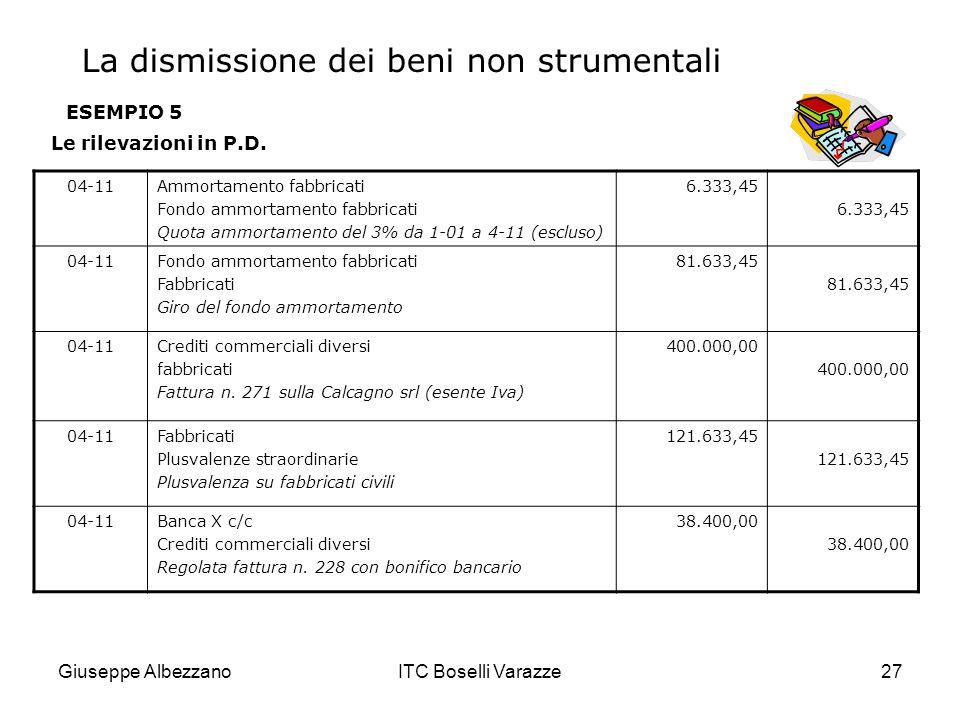 Giuseppe AlbezzanoITC Boselli Varazze27 ESEMPIO 5 Le rilevazioni in P.D. 04-11Ammortamento fabbricati Fondo ammortamento fabbricati Quota ammortamento