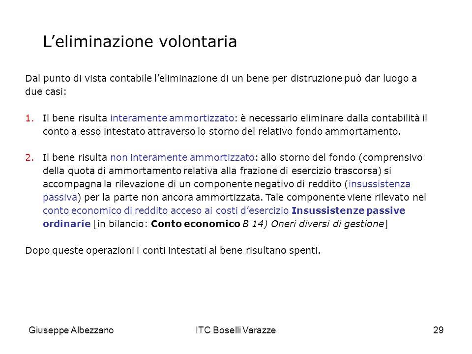 Giuseppe AlbezzanoITC Boselli Varazze29 Leliminazione volontaria Dal punto di vista contabile leliminazione di un bene per distruzione può dar luogo a