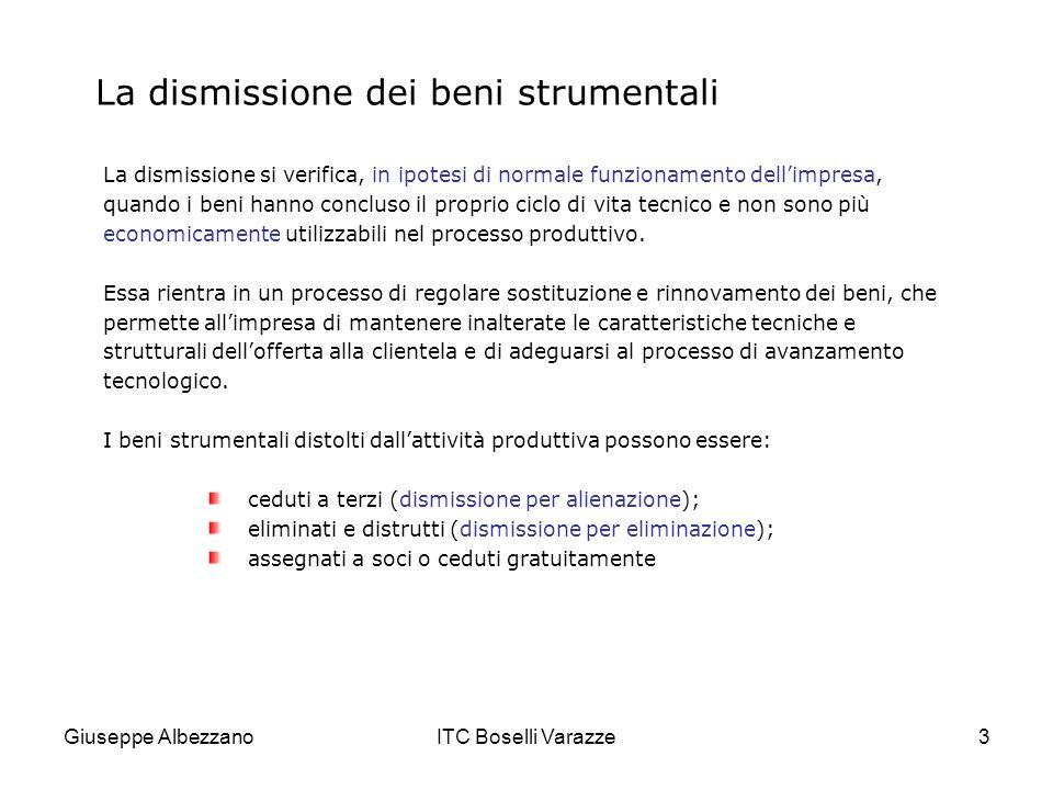 Giuseppe AlbezzanoITC Boselli Varazze34 L eliminazione involontaria Le stesse regole di contabilizzazione devono essere rispettate quando leliminazione dei beni strumentali avviene per cause non dipendenti dalla volontà aziendale.