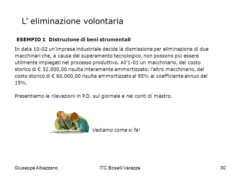 Giuseppe AlbezzanoITC Boselli Varazze30 L eliminazione volontaria ESEMPIO 1 Distruzione di beni strumentali In data 10-02 unimpresa industriale decide