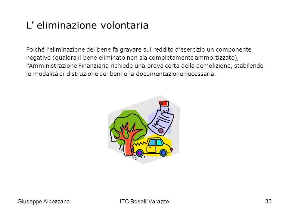 Giuseppe AlbezzanoITC Boselli Varazze33 L eliminazione volontaria Poiché leliminazione del bene fa gravare sul reddito desercizio un componente negati