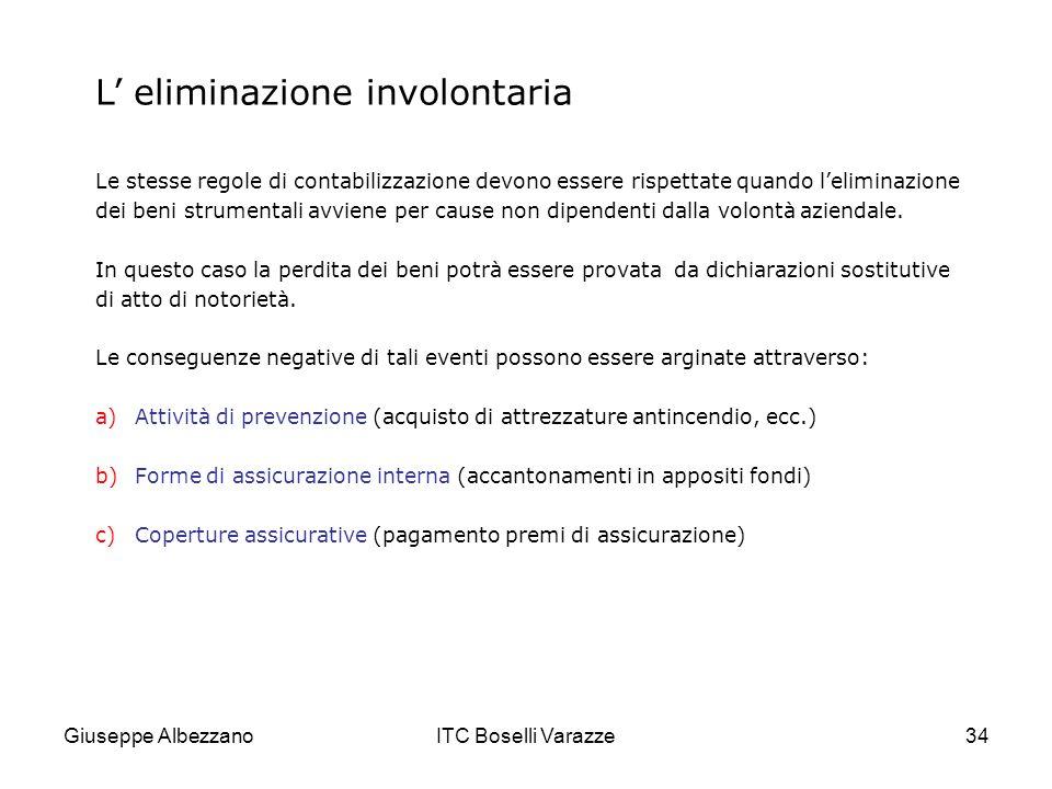 Giuseppe AlbezzanoITC Boselli Varazze34 L eliminazione involontaria Le stesse regole di contabilizzazione devono essere rispettate quando leliminazion