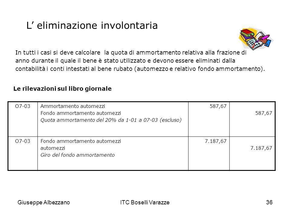 Giuseppe AlbezzanoITC Boselli Varazze36 In tutti i casi si deve calcolare la quota di ammortamento relativa alla frazione di anno durante il quale il