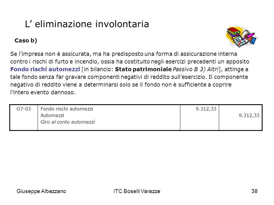 Giuseppe AlbezzanoITC Boselli Varazze38 Se limpresa non è assicurata, ma ha predisposto una forma di assicurazione interna contro i rischi di furto e