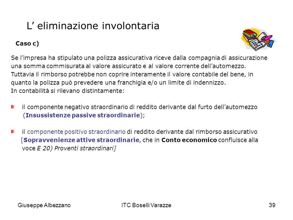 Giuseppe AlbezzanoITC Boselli Varazze39 Se limpresa ha stipulato una polizza assicurativa riceve dalla compagnia di assicurazione una somma commisurat
